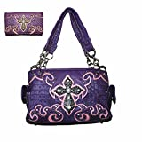 Rhinestone Metal Cross Cowgirl Women's Handbag, Matching Wallet Set and Texas West Coin Collection in 7 Colors (Purple)