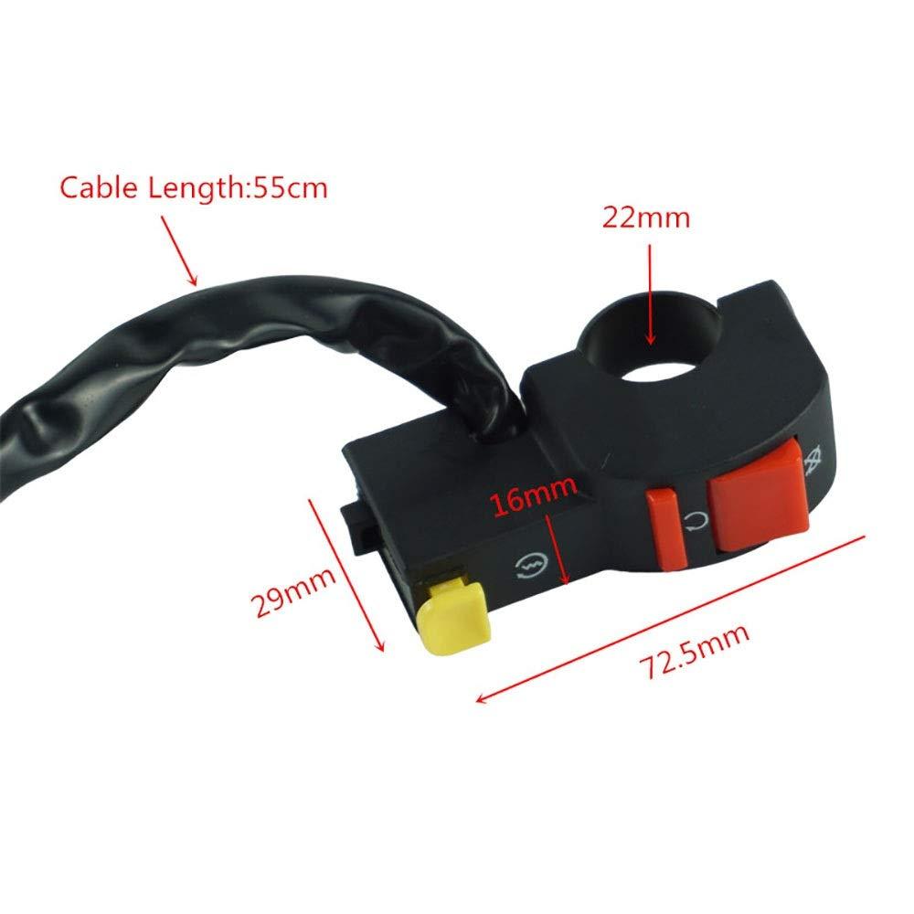 Color : Negro GS-99 Conmutador de motocicleta 22 mm 7//8Arrancador el/éctrico Arranque y parada Bot/ón de encendido//apagado de ATV Apagado con 4 partes de conexi/ón de cable