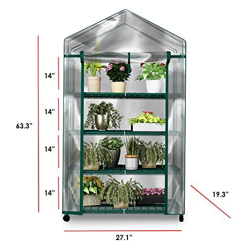 Green House HC-4201 Mini Greenhouse-4-Tier Indoor Outdoor Sturdy Portable Shelves-Grow Pla