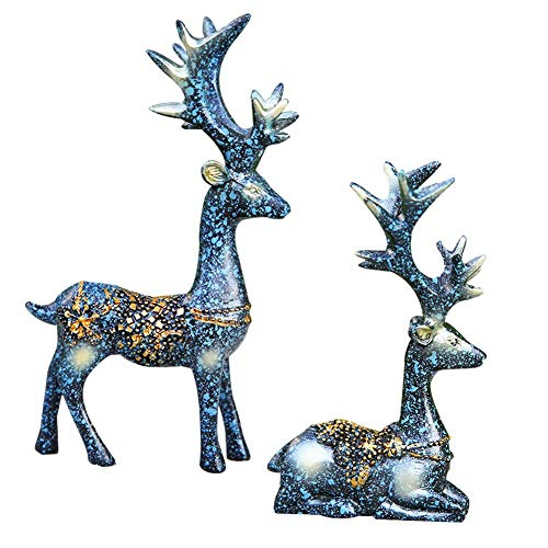Set of 2 Christmas Lucky Deer Statue,Resin Reindeer