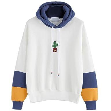 e28c416b0467d Angelof Pull Femmes Sweat-Shirt Femme Manches Longues Cactus Imprimer Sweat  à Capuche Pull Capuche