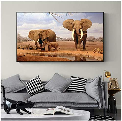 装飾ポップアートプリントアフリカゾウ動物風景絵画キャンバスに壁の写真用リビングルームポスター-50×70センチなしフレーム