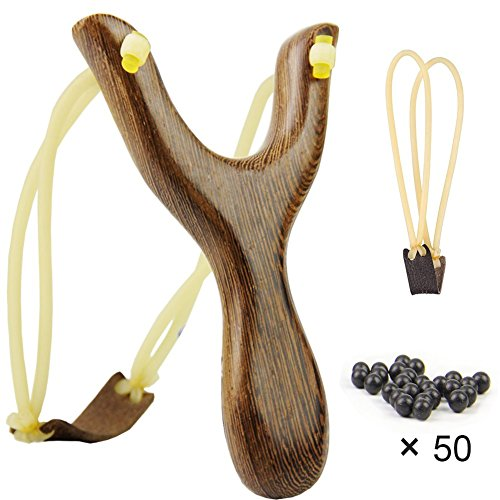 COOY Slingshot Kit , Professional Solid Wooden Slingshot Toys with Hunting Catapult Game,Hunting-for Kids And Children