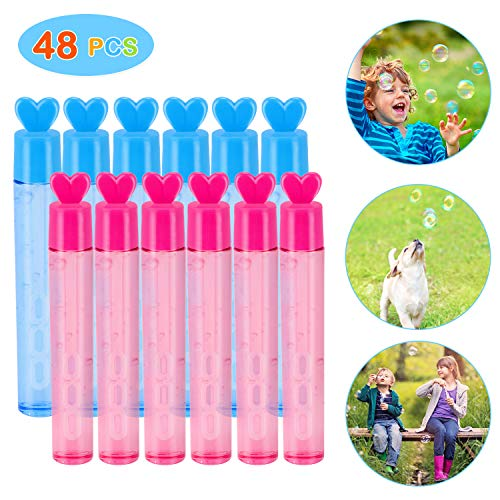 Vimpro Bubble Wands, 48Pack Mini Heart Bubble Wands Set Bubble Toys Bubble Maker Birthday Wedding Carnival and Outdoor Activities Summer Fun Toys for Kids