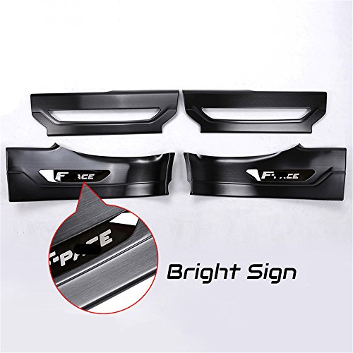 4 Pcs Fit for Jaguar F Pace F-Pace X761 2016 2017 2018 Black Door Sill Scuff Plate Guard Sill Protector Trim - Bright Sign by KPGDG