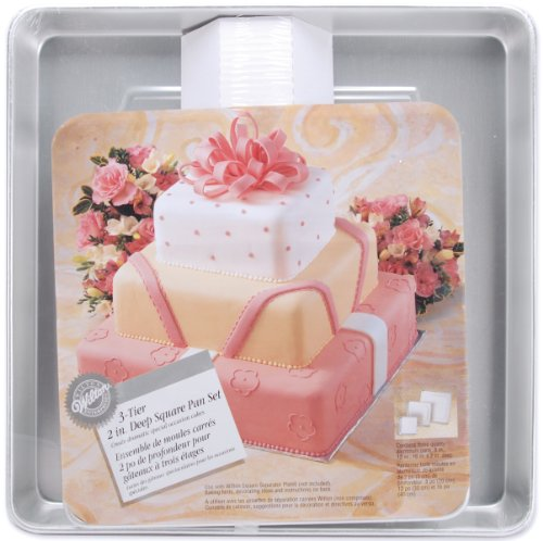 Wilton Performance Pans Square Cake Pans Set, 3 Piece - 8, 12 and 16-Inch Cake Pans
