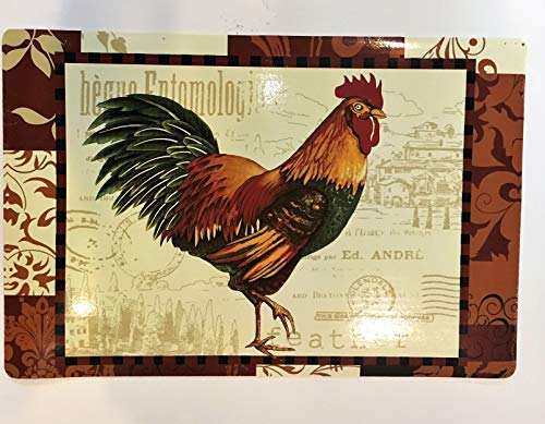 (Home Collection Morning Rooster 12 X 18 Place-mat Vinyl Set of 4)
