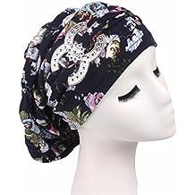 Qhome Vintage Cotton Floral Dreadlocks Braids Cap Comfortable Slouchy Baggy Hat Chemo Cap Bandana Hair Loss Bonnet Tube