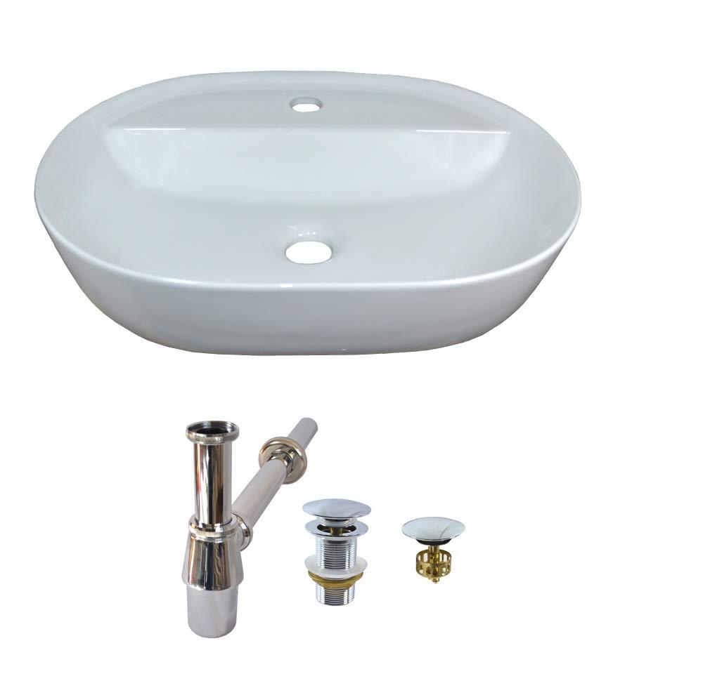 Ceramic Basin Set + Stopper Without Overflow Predection + Siphon Oval Countertop Ceramic 50 cm L 38 cm B
