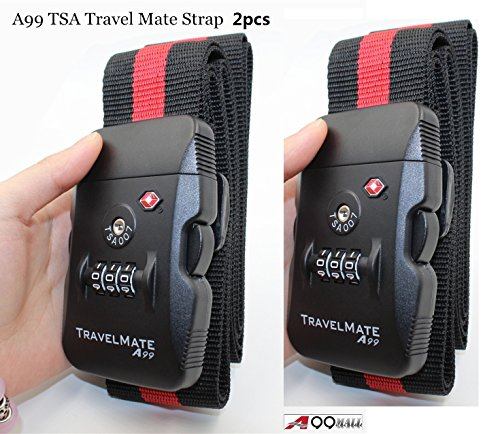2pcs A99 TSA RED/BLK Golf air baggage Airplane golf bag Strap Luggage belt 3 Digital Dial Combination Safe Suitcase Lock Strap (Adjustable length: 43.3