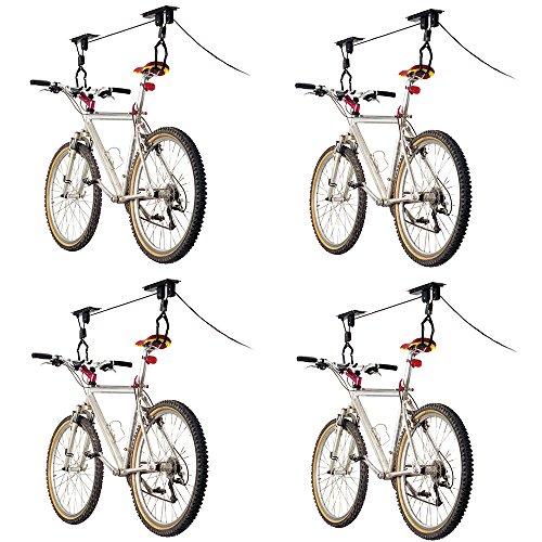 4-Bike Elevation Garage Bicycle Hoist (Black Wall Storage System)