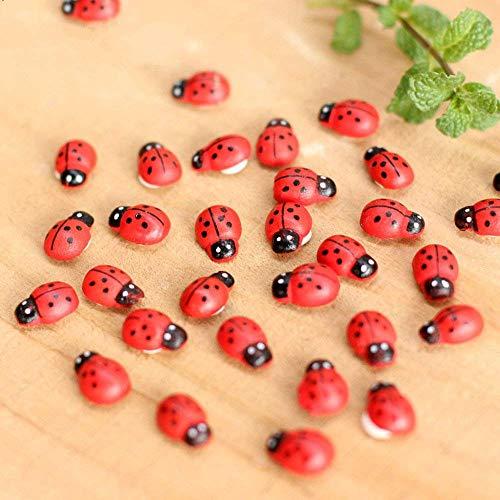 Funny live 100pcs;Wooden Craft Butterfly Lady Beetle Garden Decor Stylish Mini Ladybug Decorations DIY Paste Decoration On The Flower Leaves ()