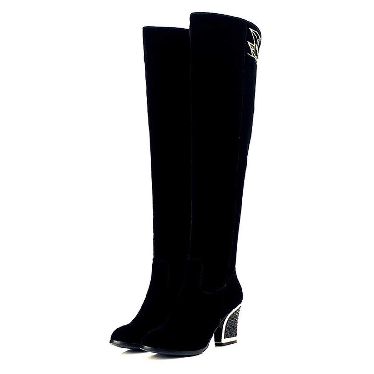 DANDANJIE Damen Stiefel Winter Bestickt Ethnic Vintage Style Overknee Stiefel Damen Blockabsatz No-Slip Stiefel Schwarz