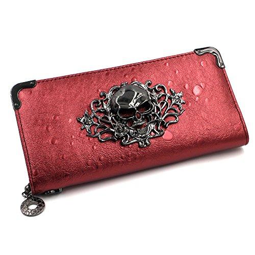 LACASA Women's Wicked Skull Leather Zipper Wallet Purse Bag - Red