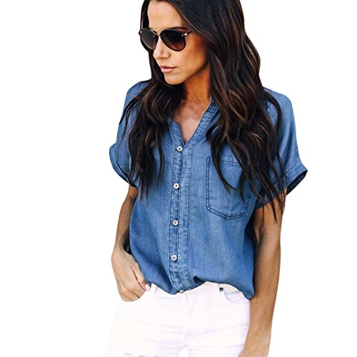 Summer Shirt Women Blouse Casual Jacket Soft Denim Tops Blue Jean Button Short ()