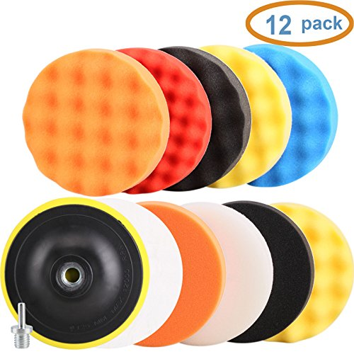 SPTA 12pcs 6in/150mm Buffing Polishing Pads with Drill Adapter Kit for Car Polisher--5/8