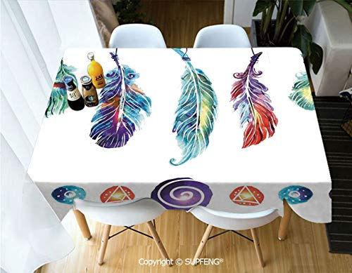 Vinyl tablecloth Several Tribal Feather Collection in Psychedelic Hippie Universe Cosmos Harmony Forms (60 X 120 inch) Great for Buffet Table, Parties, Holiday Dinner, Wedding & More.Desktop decorati