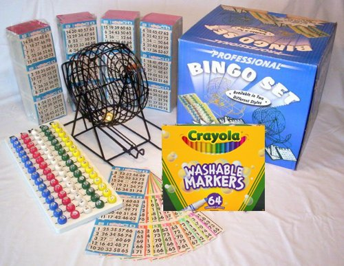 Complete Bingo Game Kit with Professional Bingo Cage, Balls, Paper, No-mess Crayola Washable Markers, Operation Instructions and Outstanding Game Play Options! (Paper Board Handling)