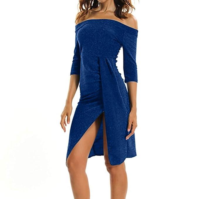 96864e4845e08 QinMM Vestido Dividido Fuera del Hombro para Mujer Vestido de cóctel Noche  Fiesta Bodycon Ajustado  Amazon.es  Ropa y accesorios