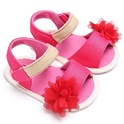 Sandalias De Bebe,BOBORA Prewalker Zapatos Primeros Pasos Para Bebe Hermosa Flor De Bebe Sandalias Princesa rosa rojo
