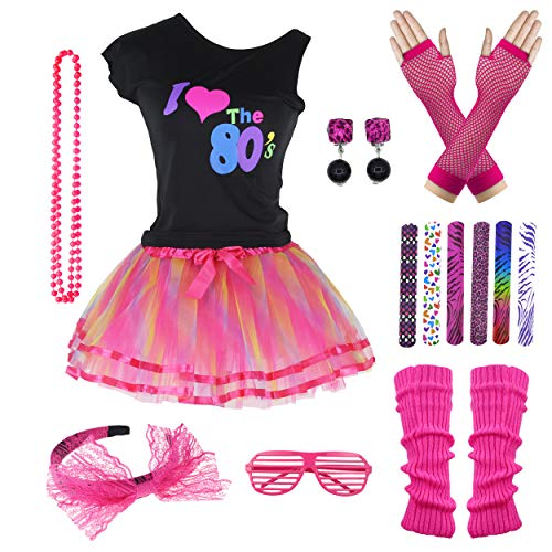 9 Piece 80s Pop Party Diva Teen Costume Accessories Set 7-16 Years (10-12 Years, Hot Pink) ()