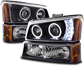 Fits 2003-2006 Silverado Avalanche Clear LED Halo Projector Headlights+Bumper