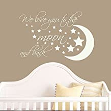 """Wall Decal Decor Nursery Wall Decal Quotes - We Love You To The Moon And Back - Nursery Vinyl Wall Sticker - Moon And Stars Childrens Room Decor(White, 11""""h x16""""w)"""