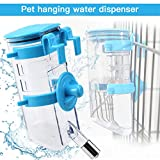 Yitour Dog Collapsible Water Bottle Dispenser-Hanging Water Kettle Automatic Water Drinking Feeder with Stainless Steel Ball for Small/Medium Puppy Animals Kitten/Cat/Rabbit Crate Cage (Blue,350ML)