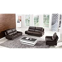 American Eagle Furniture 3 Piece Harrison Collection Complete Genuine Leather Living Room Sofa Set, Dark Chocolate
