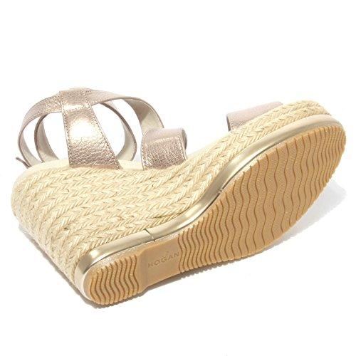 B0648 sandalo donna HOGAN zeppa yuta rosa/oro shoe sandal woman Oro