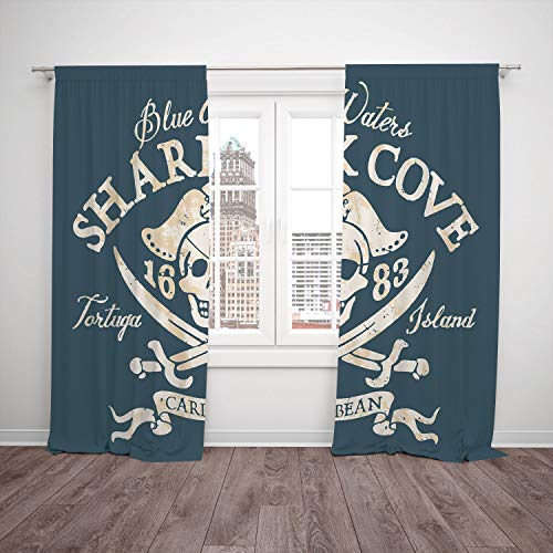 (iPrint 2 Panel Set Window Drapes Kitchen Curtains,Pirate Shark Cove Tortuga Island Caribbean Waters Retro Jolly Roger Slate Blue White Light Mustard,for Bedroom Living Room Dorm Kitchen Cafe)
