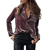Womens Spring Autumn Thin Boyfriend Top Button Down Velvet Shirt size S (Purple)