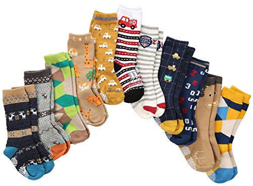 7-Pairs-Toddler-Boy-Non-Skid-Socks-Knee-High-Cotton-Thick-with-Grips-Baby-Boys-Anti-skid-Socks