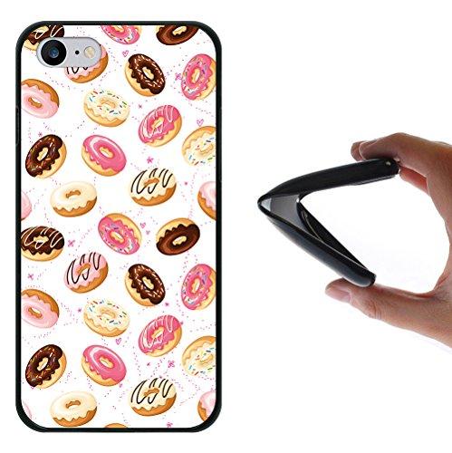 iPhone 8 Hülle, WoowCase Handyhülle Silikon für [ iPhone 8 ] Donuts Handytasche Handy Cover Case Schutzhülle Flexible TPU - Schwarz