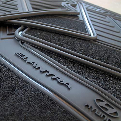 Elantra Floor Mats for Hyundai OEM Genuine - All Weather - Heavy Duty - (2017,2018,2019,2020) Complete Set (Black)