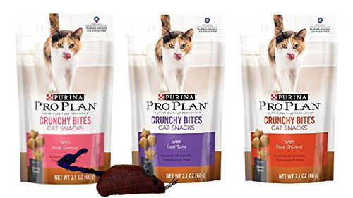 Crunchy Bites (Purina Pro Plan Crunchy Bites Savory Treats For Cats 3 Flavor Variety Bundle with Catnip Mouse: (1) Real Salmon, (1) Real Tuna, and (1) Real Chicken, 2.1 Oz. Ea. (3 Bags w/Toy))