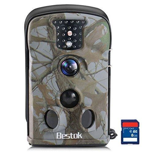 Bestok Wildkamera Fotofalle Full HD 12MP Jagdkamera Wasserdichte Gartenkamera mit Bewegungsmelder Vision Infrarote 20m Nachtsicht Überwachungskamera (5210+8GB)