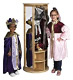 ECR4Kids Natural Birch Round Play Locker and Dress-Up Carousel with Mirrors and Storage