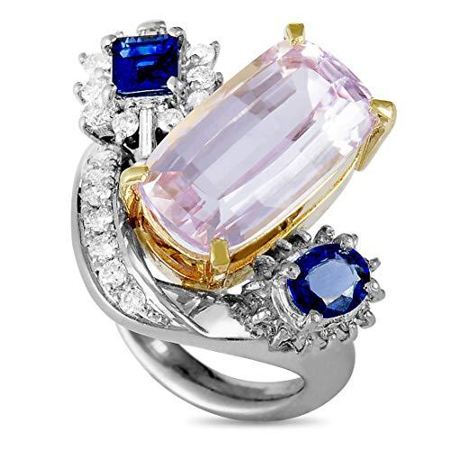 Luxury Bazaar Platinum and 18K Yellow Gold Round and Tapered Baguette Diamonds, Sapphire and Kunzite Ring