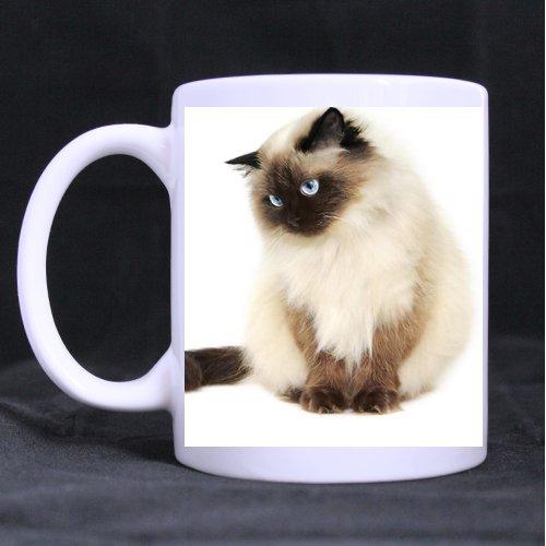 Fat Himalayan Cat Art Custom Mug - Ceramic White Coffee and Tea Mug Art Painting Twin Sides ()