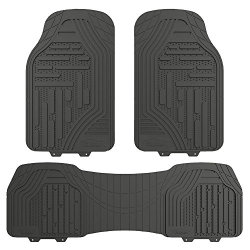 FH GROUP FH-F11322 Supreme Rubber Trimmable Heavy Duty Floor Mats, Solid Gray