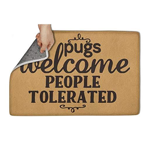 Bombline Custom Door Mats Pugs Welcome, People Tolerated Floor Mat Non Slip Indoor/Outdoor Welcome Doormat 23.5