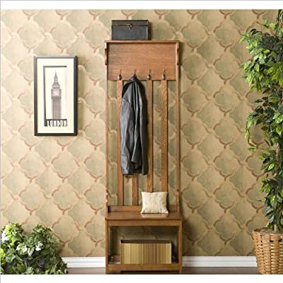 "Pemberly Row Hall Tree Entry Bench in Mission Oak - 24"" W x 18"" D x 72.5"" H Seat - 17"" D x 18"" H Top Shelf - 6"" D - hall-trees, entryway-furniture-decor, entryway-laundry-room - 51I0gZzbCQL. SS400  -"