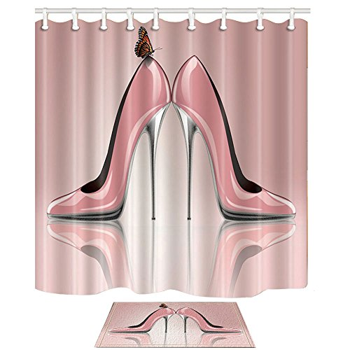 KOTOM Creative Sex Beauty Woman Decor, Butterfly on Pink High Heels 69X70in Polyester Fabric Shower Curtain Suit with 15.7x23.6in Flannel Non-Slip Floor Doormat Bath Rugs ()