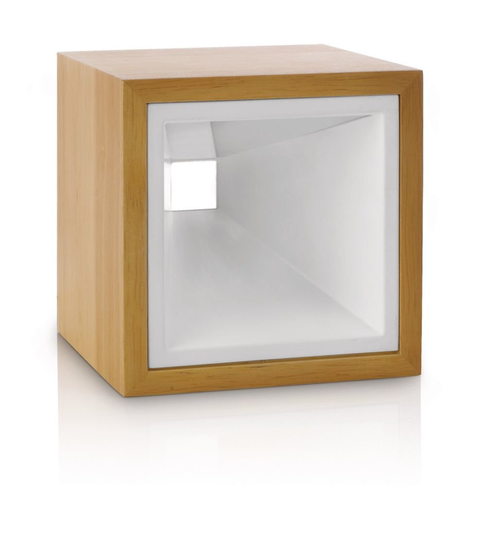 Philips InStyle Kubiz - Lámpara de sobremesa, LED, corriente alterna, 50/60 Hz, luz blanca cálida, madera, color marrón y blanco