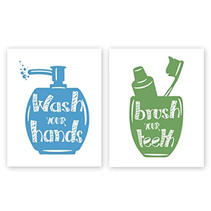 e474ed7c5e6 Unframed Wash Your Hands-Brush Your Teeth Quotes Bathroom Art Print