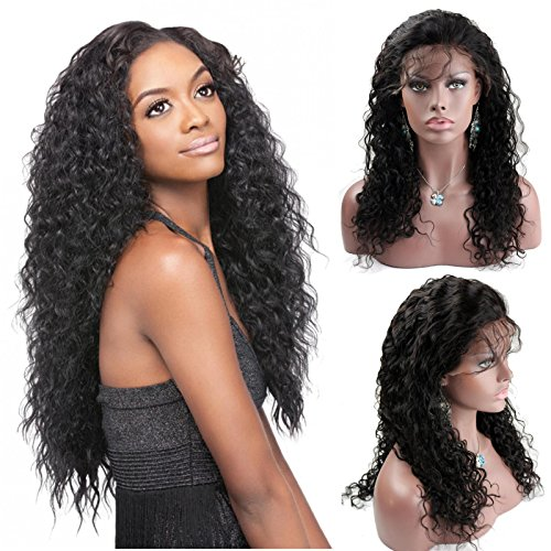 Dreambeauty Human Hair Full Lace Wigs 100% Indian Remy Water Wave Natural Black 22inch (Wigs Remy Indian Hair)