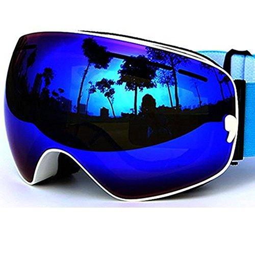 [COPOZZ Anti-fog Ski Goggles - Wide Vision Anti-scratch Anti UV 400 OTG Comfortable Goggles with Detachable Dual Layer Lens, 03White VLT 18.4%] (All Mountain Snow Skis)