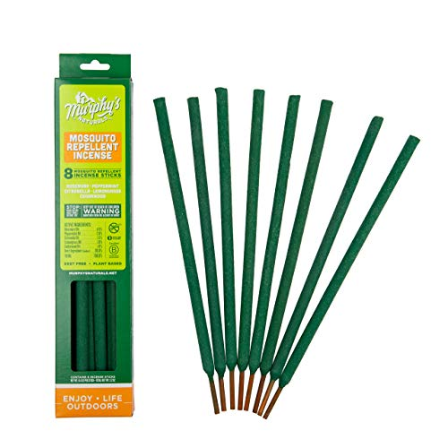 (Murphy's Naturals Mosquito Repellent Incense Sticks | Bamboo Incense Infused with Citronella, Rosemary, Lemongrass, Peppermint & Cedarwood Essential Oils | Plant Based DEET Free | 8 Sticks per Pack)