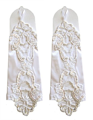 Taiycyxgan Fingerless Elbow Length Flora Lace Faux Pearl Sequin Satin Gloves